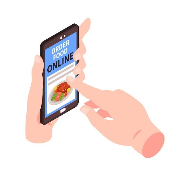 Composição isométrica de entrega de alimentos com mão humana tocando smartphone com aplicativo de pedidos online
