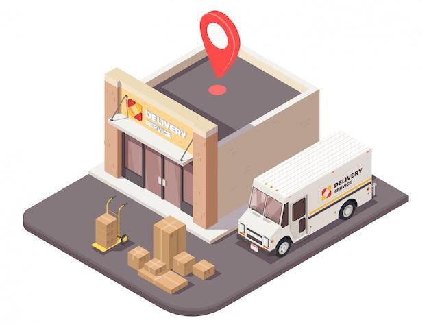 Composição isométrica de entrega logística de remessa com vista exterior das parcelas de edifício de escritório de empresa de logística e ilustração de carro