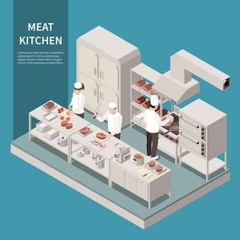 Composição isométrica de equipamentos de cozinha industrial com cozinheiros profissionais cortando, assando, grelhados, fritando, carne