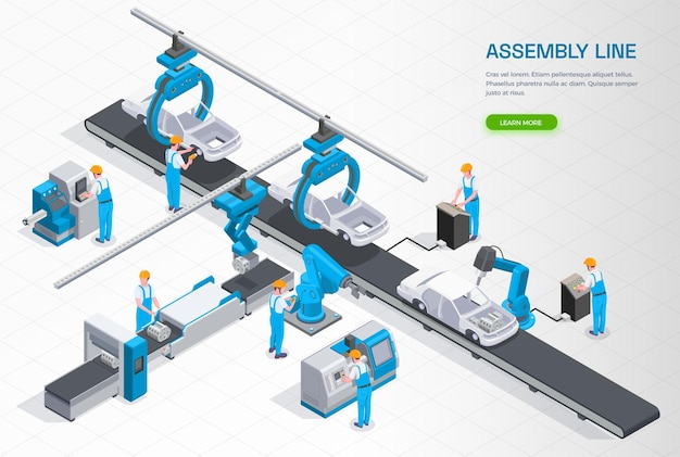 Composição isométrica de equipamentos de linha de produção de manufatura industrial com operadores de esteira de montagem de automóveis controlando ilustração de braços robóticos