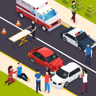 Composição isométrica de equipe de emergência