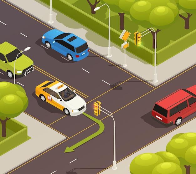 Composição isométrica de escola de direção com cenário externo de interseção de estradas urbanas com carro de treinamento e seta
