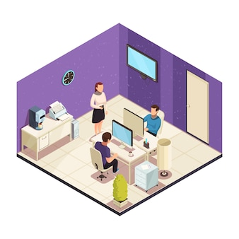 Composição isométrica de escritório