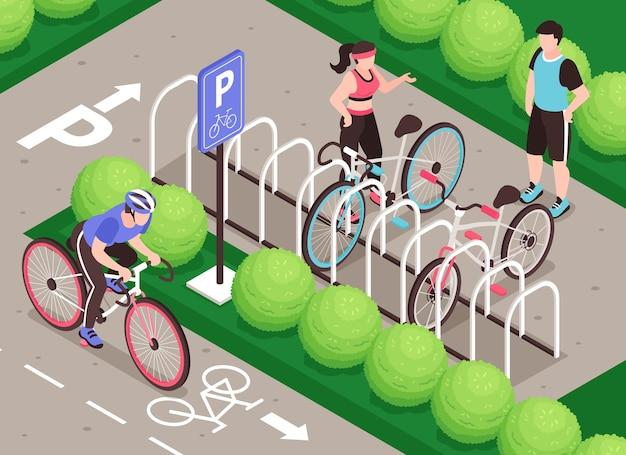 Composição isométrica de estacionamento de bicicletas com personagens humanos de ciclovia de cenário ao ar livre e suporte para bicicletas de estacionamento