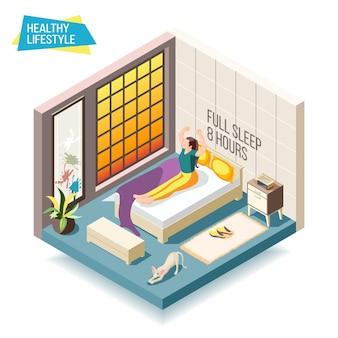 Composição isométrica de estilo de vida saudável com mulher acordando após oito horas de ilustração de sono
