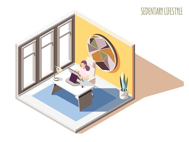 Composição isométrica de estilo de vida sedentário com texto e personagem feminina, sentado à mesa na sua sala de trabalho