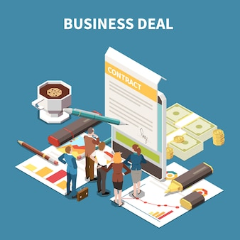 Composição isométrica de estratégia de negócios com a descrição do acordo de negócios e a ilustração da sessão de brainstorming de equipe