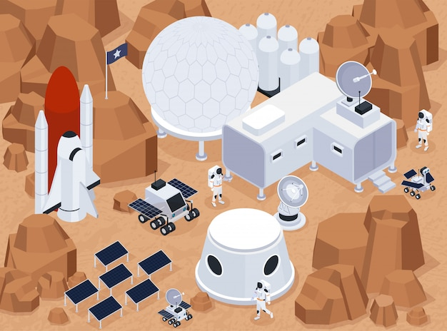 Composição isométrica de exploração espacial com vista do terreno extraterrestre e base com edifícios e baterias solares ilustração em vetor