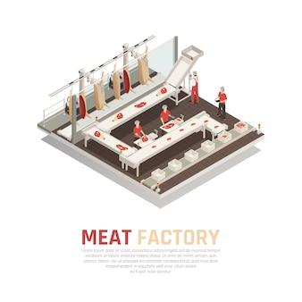 Composição isométrica de fábrica de carne