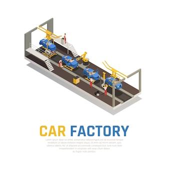 Composição isométrica de fábrica de carro