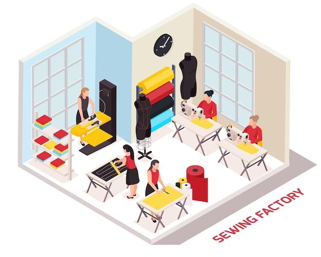 Composição isométrica de fábrica de costura com costureiras e estilistas trabalhando