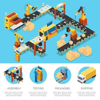 Composição isométrica de fábrica industrial