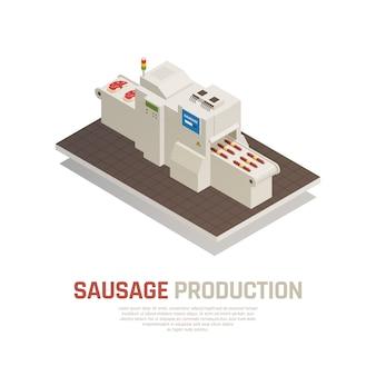 Composição isométrica de fabricação de salsichas