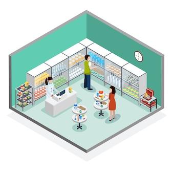 Composição isométrica de farmácia farmácia dispensário