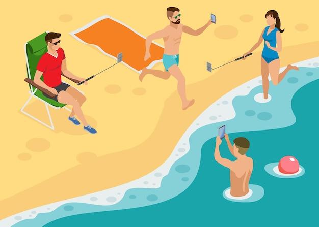 Composição isométrica de foto social com jovens na praia de south marine fazendo selfie por monopés e smartphones
