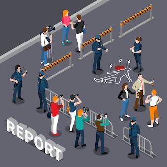 Composição isométrica de fotógrafo videógrafo com policiais de área isolada e pessoas perto da cena do crime