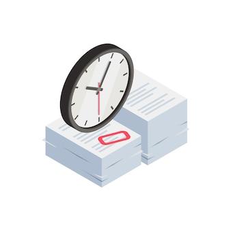 Composição isométrica de frustração profissional de depressão de burnout com imagens de relógio e pilha de papelada