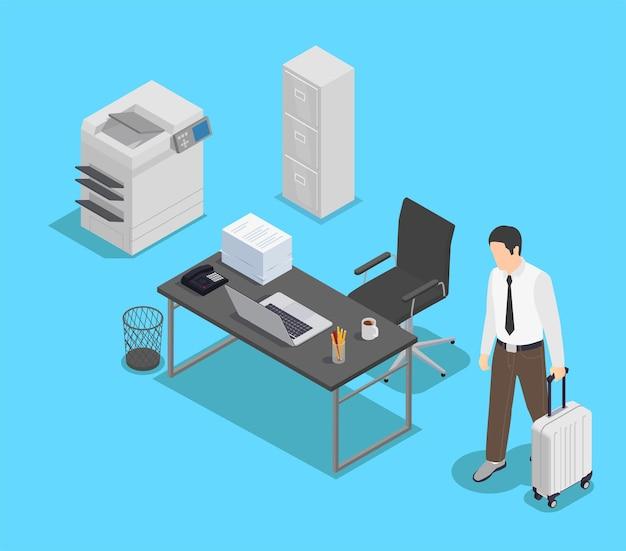 Composição isométrica de frustração profissional de depressão de burnout com personagem de trabalhador distraído e vista de seu espaço de trabalho