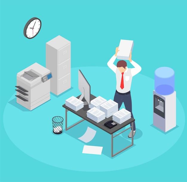 Composição isométrica de frustração profissional de depressão de esgotamento com peças de mobília de escritório e caráter de trabalhador louco