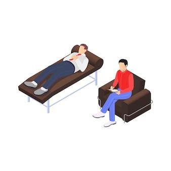 Composição isométrica de frustração profissional de depressão de esgotamento com personagens de psicólogo e trabalhador paciente