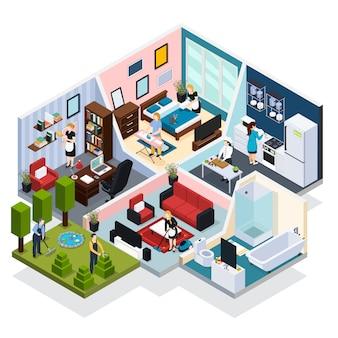 Composição isométrica de funcionários em casa