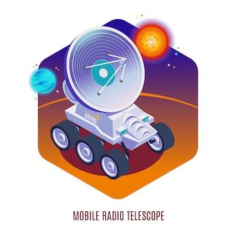 Composição isométrica de fundo de tecnologia aeroespacial astrofísica com telescópio de rádio móvel montado em ilustração de rover todo terreno