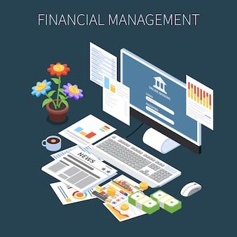 Composição isométrica de gestão financeira com informações econômicas de dinheiro e serviços bancários on-line no escuro