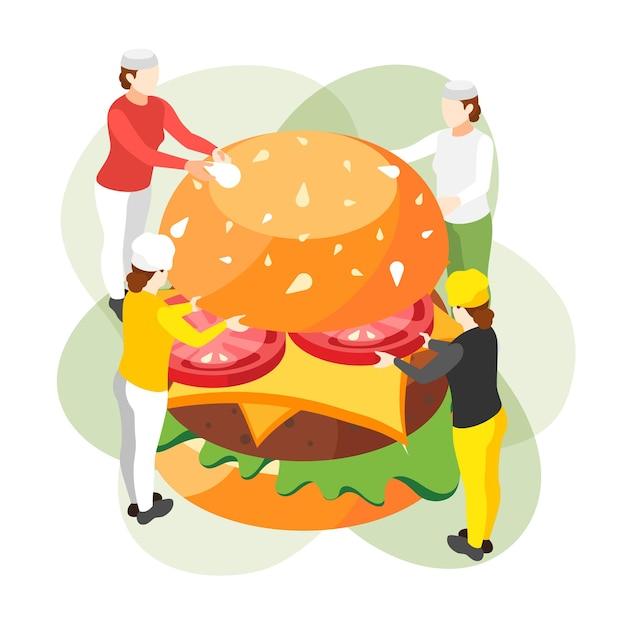 Composição isométrica de hambúrguer com grupo de pequenos personagens humanos segurando ingredientes de hambúrguer de fast food