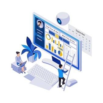 Composição isométrica de ícones de trabalho distante de gerenciamento remoto com calendário de projeto de computador desktop e pessoas pequenas
