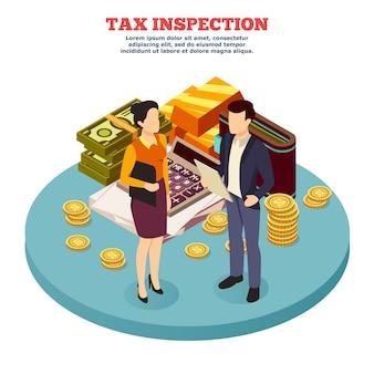 Composição isométrica de inspeção fiscal