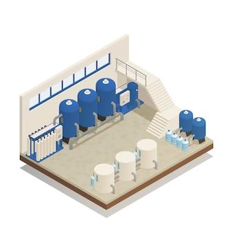 Composição isométrica de instalações de limpeza de água