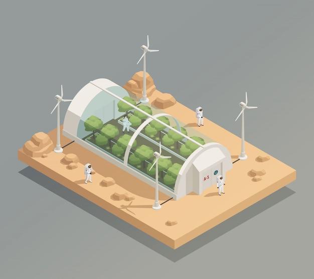 Composição isométrica de instalações de vegetação de espaço