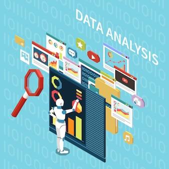 Composição isométrica de inteligência artificial com janelas de computador de pictogramas de análise de dados e caráter do robô