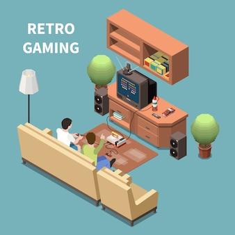 Composição isométrica de jogadores de jogos com imagens de móveis de sala doméstica com dispositivo de jogo de televisão e pessoas