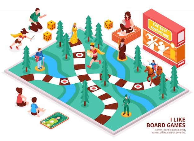 Composição isométrica de jogo de tabuleiro