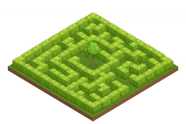 Composição isométrica de labirinto de jardim