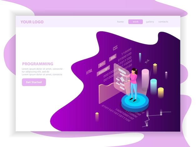 Composição isométrica de landing page de programação freelance com texto editável e imagens de infográfico com gráficos