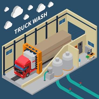Composição isométrica de lavagem de caminhão