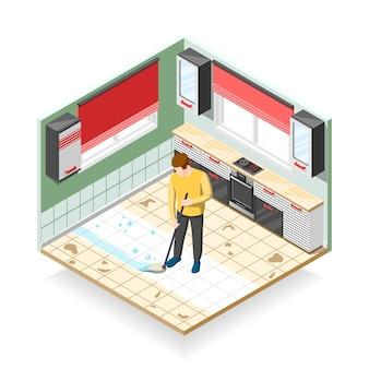 Composição isométrica de limpador doméstico