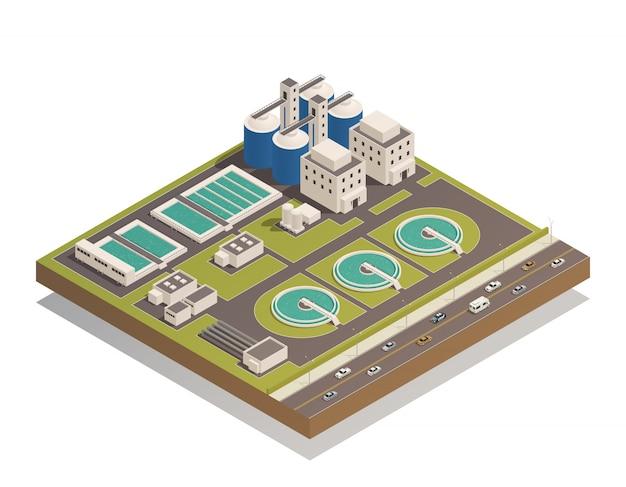Composição isométrica de limpeza de águas residuais