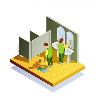 Composição isométrica de limpeza de armário