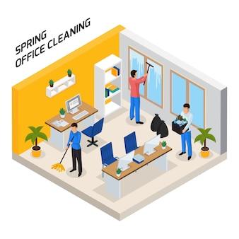 Composição isométrica de limpeza de escritório