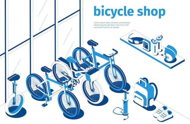Composição isométrica de loja de bicicletas