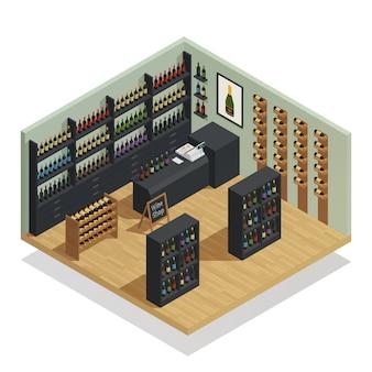 Composição isométrica de loja de vinhos
