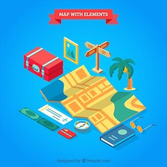 Composição isométrica de mapa e elementos de viagem