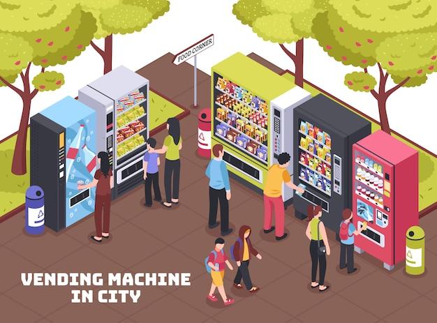Composição isométrica de máquinas de venda automática