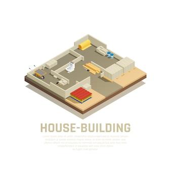 Composição isométrica de materiais de construção com texto editável e vista do estaleiro na fase inicial da ilustração vetorial de construção