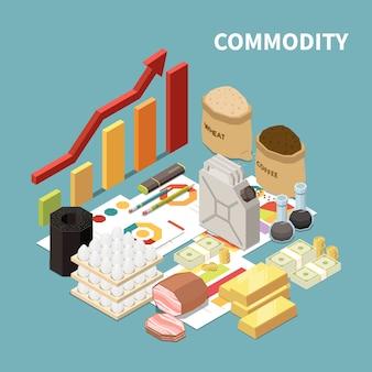 Composição isométrica de mercadorias com imagens de produtos manufaturados e objetos infográficos gráficos e setas com texto