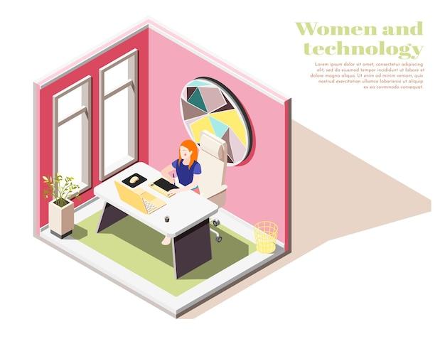 Composição isométrica de mulheres e tecnologia com jovem no local de trabalho no interior do escritório
