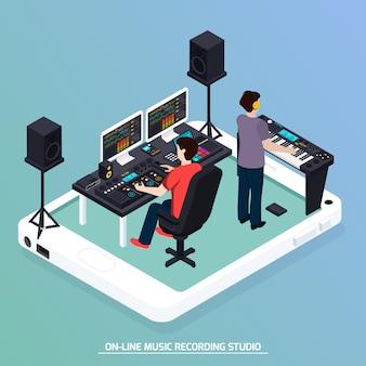 Composição isométrica de música de produção